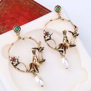 Vintage inspired Bird Charm Stud Earrings